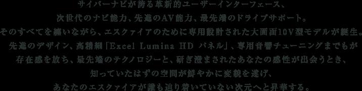 サイバーナビが誇る革新的ユーザーインターフェース、次世代のナビ能力、先進のAV能力、最先端のドライブサポート。そのすべてを纏いながら、エスクァイアのために専用設計された大画面10V型モデルが誕生。先進のデザイン、高精細「Excel Lumina HD パネル」、専用音響チューニングまでもが存在感を放ち、最先端のテクノロジーと、研ぎ澄まされたあなたの感性が出会うとき、知っていたはずの空間が鮮やかに変貌を遂げ、あなたのエスクァイアが誰も辿り着いていない次元へと昇華する。