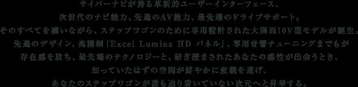サイバーナビが誇る革新的ユーザーインターフェース、次世代のナビ能力、先進のAV能力、最先端のドライブサポート。そのすべてを纏いながら、ステップワゴンのために専用設計された大画面10V型モデルが誕生。先進のデザイン、高精細「Excel Lumina HD パネル」、専用音響チューニングまでもが存在感を放ち、最先端のテクノロジーと、研ぎ澄まされたあなたの感性が出会うとき、知っていたはずの空間が鮮やかに変貌を遂げ、あなたのステップワゴンが誰も辿り着いていない次元へと昇華する。