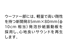 ウーファー部には、軽量で高い剛性を持つ新開発85mm×80mm(φ10cm相当)発泡抄紙振動板を採用し、心地良いサウンドを再生します。
