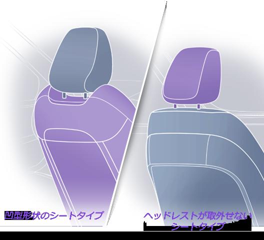 凹型形状のシートタイプ/ヘッドレストが取外せないシートタイプ