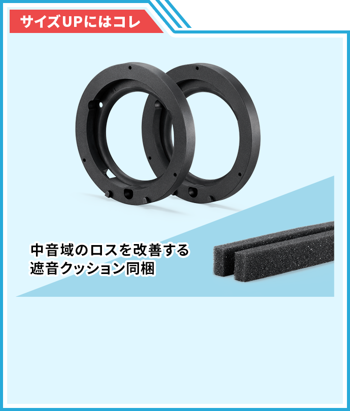 サイズUPを可能にするジムニー専用取付キット/中音域のロスを改善する遮音クッション同梱