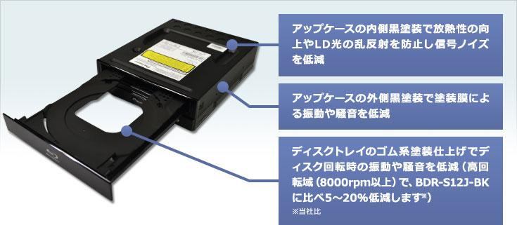 アップケースの内側黒塗装で放熱性の向上やLD光の乱反射を防止し信号ノイズを低減/アップケースの外側黒塗装で塗装膜による振動や騒音を低減/ディスクトレイのゴム系塗装仕上げでディスク回転時の振動や騒音を低減(高回転域(8000rpm以上)で、BDR-S12J-BKに比べ5~20%低減します※)。※当社比