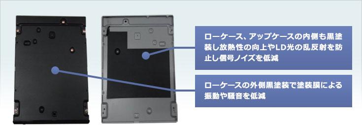 ローケース、アップケースの内側も黒塗装し放熱性の向上やLD光の乱反射を防止し信号ノイズを低減/ローケースの外側黒塗装で塗装膜による振動や騒音を低減